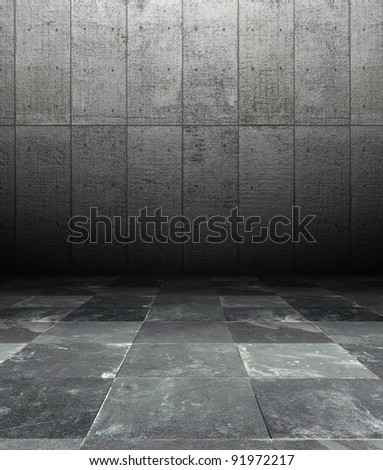 3d grunge interior, grey rusty wall with metal