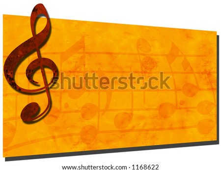 3D Grunge Music Backdrop with Treble Clef & Music Notes  - SEE MORE IN MY GALLERY - stock photo