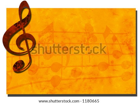 3D Grunge Music Backdrop with Treble Clef - SEE MORE IN MY GALLERY - stock photo