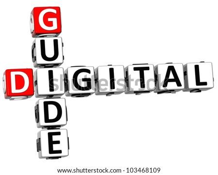3D Guide Digital Crossword on white background - stock photo