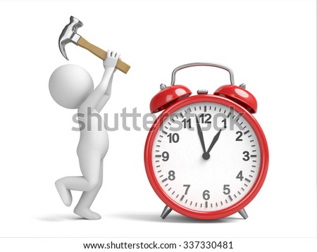 3D guy and a clock - stock photo