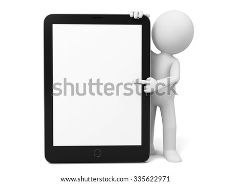 3D guy and a ipad - stock photo