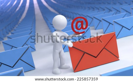 3d guy and abstract email letter - stock photo