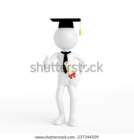 3D guy as doctorate during university graduation holding his thumbs up (3D Rendering) - stock photo