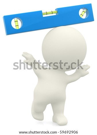3D guy balancing and trying to find the right level - isolated over a white background - stock photo