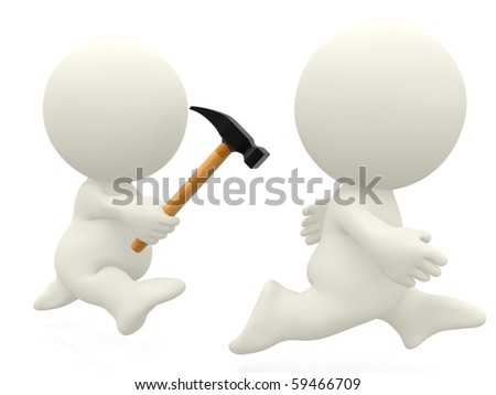 3D guy chasing another with a hammer - isolated over a white background