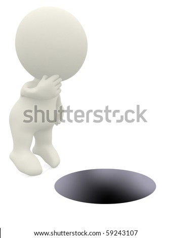 3D guy looking into a hole - isolated over a white background - stock photo