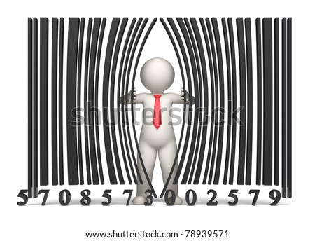 3d guy opening a virtual bar code - Isolated - stock photo