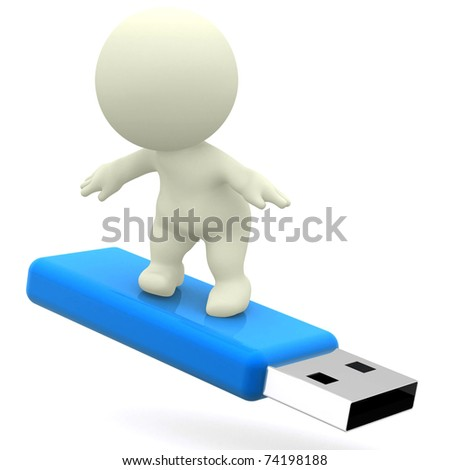 3D guy surfing on a USB - isolated over white - stock photo
