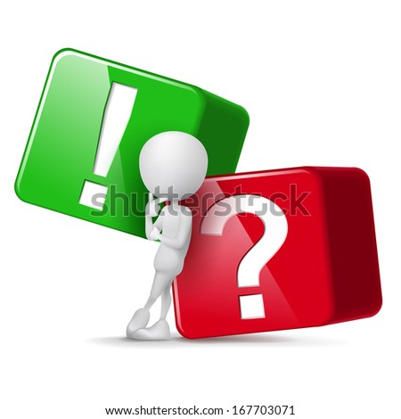 3d guy thinking in front of big question and exclamation mark cubes - stock photo
