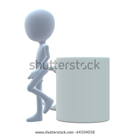 3D guy with a coffee mug on a white background