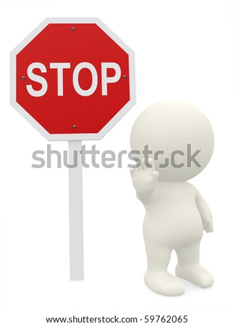 3D guy with a stop sign - isolated over a white background - stock photo