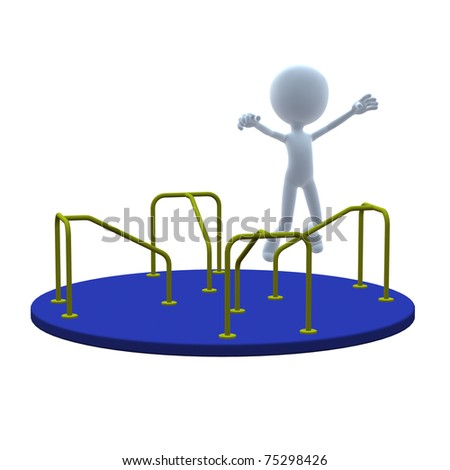 3D guy with merry go round on a white background - stock photo