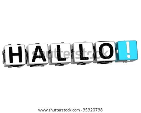 3D Hallo block text on white background - stock photo