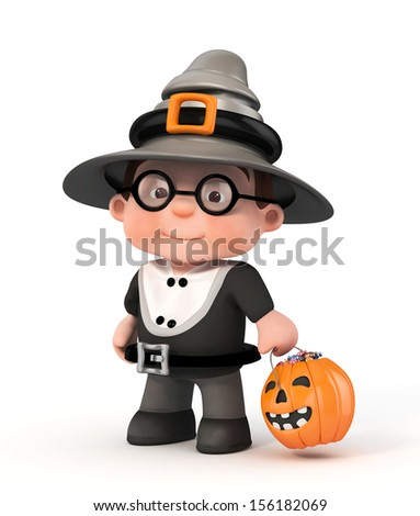 3d halloween kid with pumpkin and candy - stock photo