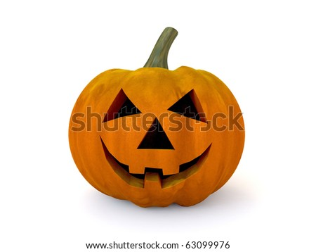 3D halloween pumpkin isolated on white background - stock photo