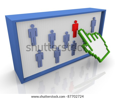 3d hand cursor selecting unique red person from crowd - stock photo