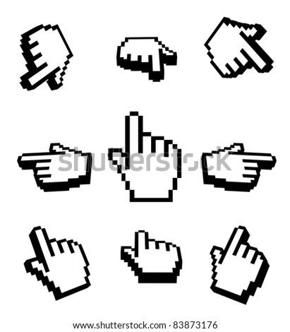 3d Hand cursors navigation set - stock photo