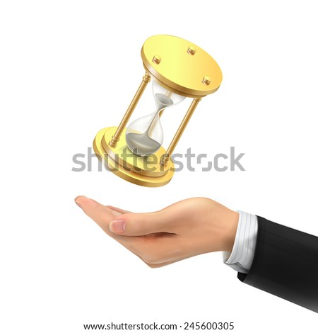 3d hand holding a hourglass over white background - stock photo