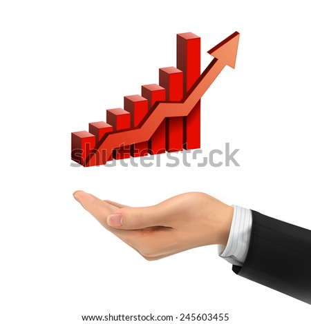 3d hand holding bar graph with rising arrow over white background