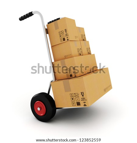 3d  hand truck on white background - stock photo