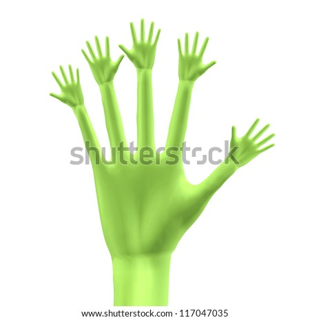 3D hand with little hands on finger tips - stock photo