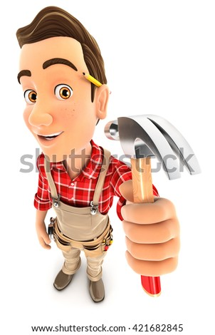 3d handyman holding a claw hammer, illustration with isolated white background