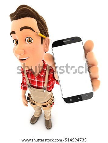3d handyman holding smartphone, illustration with isolated white background