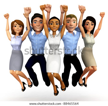 3D Happy business group jumping - isolated over a white background - stock photo