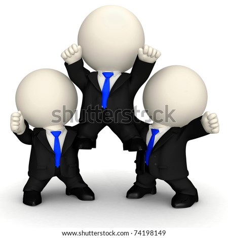 3D Happy business team in a pyramid - isolated over a white background - stock photo