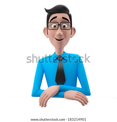 3d happy cartoon character, business man isolated on white background - stock photo