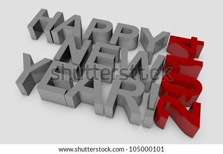 3D happy new year for the year 2014.