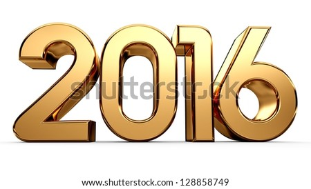 3D happy new year golden 2016 - stock photo