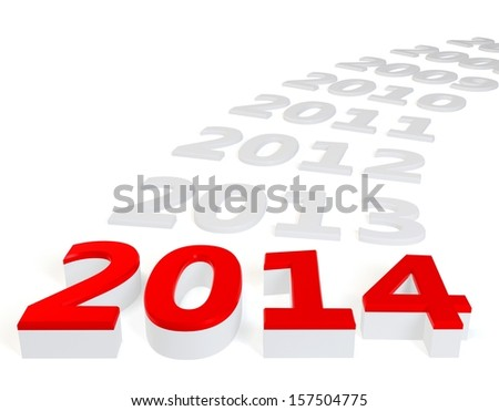 3d Happy New Year 2014 on white background - stock photo
