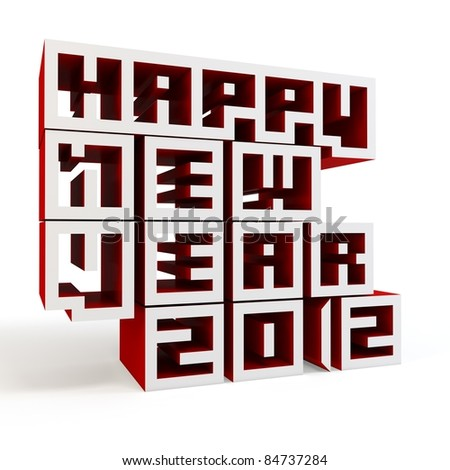 3d Happy New Year 2012 on white background - stock photo