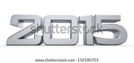 3D happy new year silver 2015 - stock photo