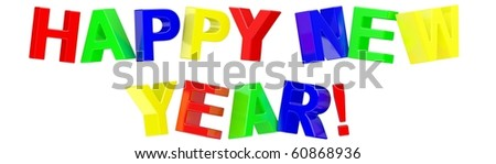 3d Happy New Year text on white background
