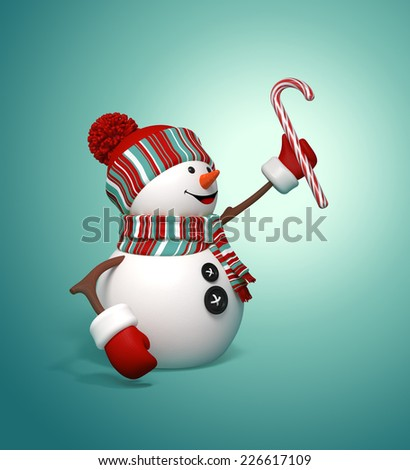 3d happy snowman holding candy cane, Christmas symbol, isolated illustration - stock photo