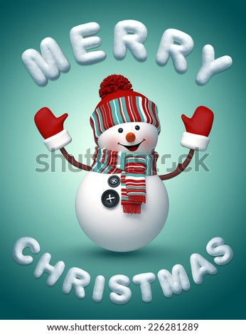 3d happy snowman wishing a Merry Christmas, snow text, winter holiday illustration - stock photo