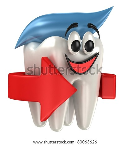3d happy teeth isolated on white background - stock photo