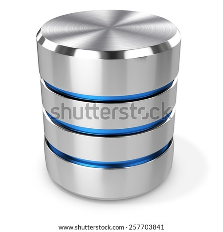 3d hard disk and database on white background - stock photo