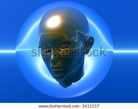 3D head in a transparent sphere - futuristic scene. - stock photo
