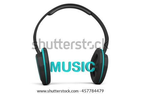 3D Headphone isolated on a white background.  Headphone music text idea