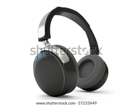 3d headphones isolated on white background