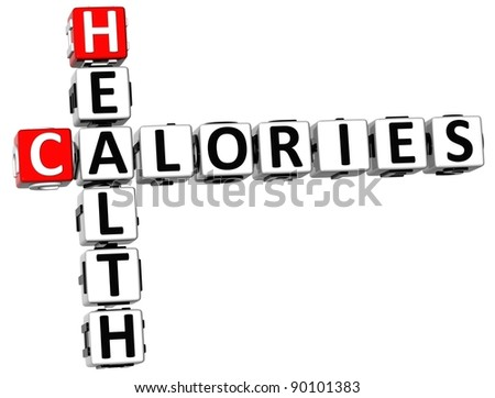 3D Health Calories Crossword on white background