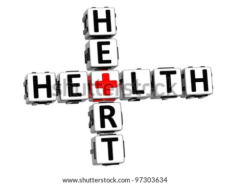 3D Health Heart Crossword Block Button text over white background