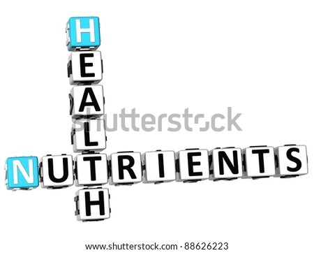 3D Health Nutrients Crossword on white background