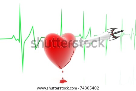 3D heart and sword in a white background