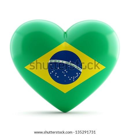 3d heart flag collection - Brazil theme - stock photo