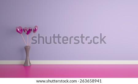 3d heart shape toy inside vase with a purple wall - stock photo